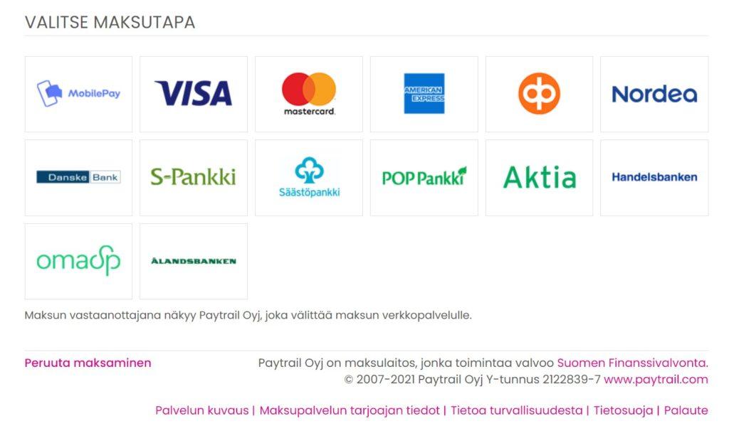 Masco Oy maksutavat verkkokaupassa
